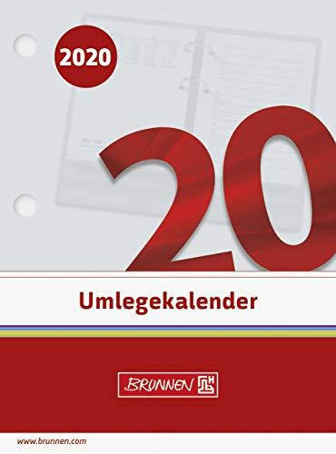 BRUNNEN 1070261 Tisch-/Umlegekalender (2 Seiten = 1 Tag, 80 x 108 mm (Form 261 E), linke Seite Kalendarium 2020, rechte Seite für Notizen, gelocht)
