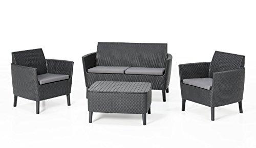 Keter Salemo Lounge Set, Set Mobili da Giardino in Rattan con Divano 2 Posti 2 Poltrone e Tavolino Porta Cuscini, Grafite