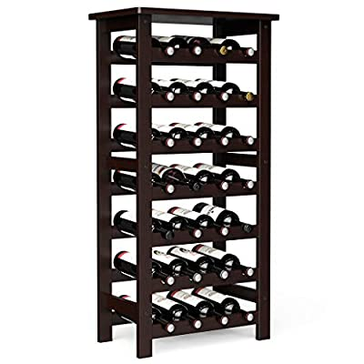 Bamboo Wine Rack for Floor Holds 28 Bottles