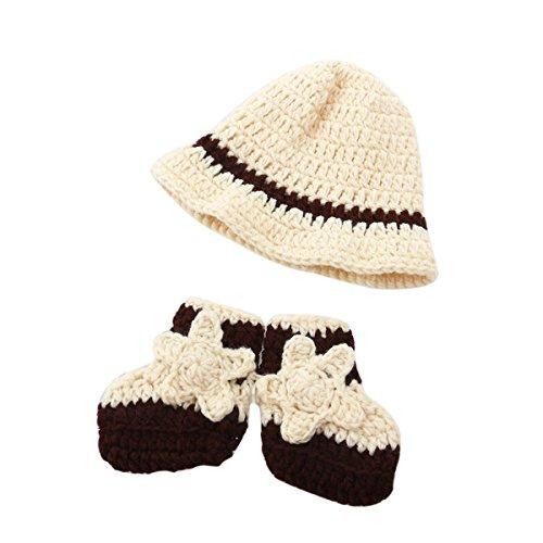 PIXNOR Photographie de bébé Accessoires bébé nouveau-né main Crochet Beanie chapeau bottes
