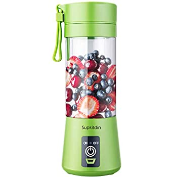 Supkitdin Portable Blender Personal Mixer Fruit Rechargeable with USB Mini Blender for Smoothie Fruit Juice Milk Shakes 380ml Six 3D Blades for Great Mixing  Green