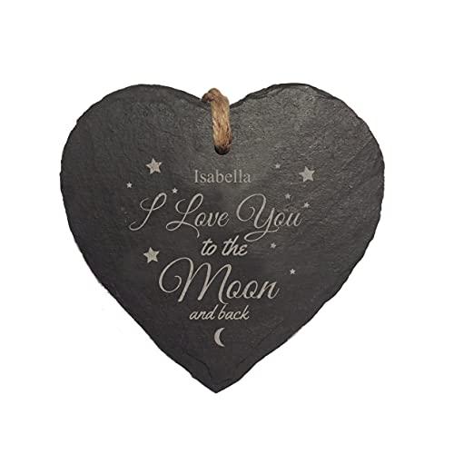 Cartel colgante de pizarra natural con grabado láser a la luna y la espalda, para decoración de interiores y exteriores