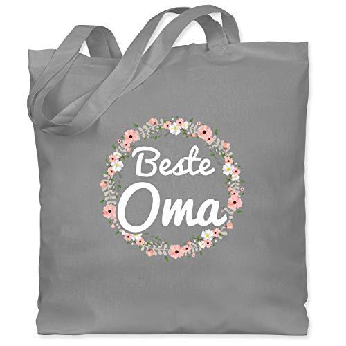 Shirtracer Oma - Beste Oma Blumenkranz - Unisize - Hellgrau - beste oma einkaufstasche - WM101 - Stoffbeutel aus Baumwolle Jutebeutel lange Henkel