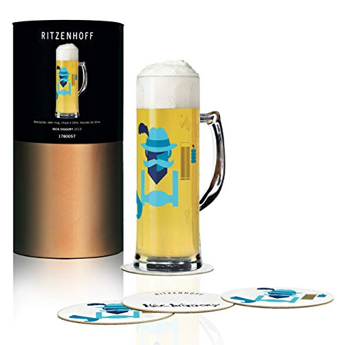 RITZENHOFF Seidel bierpul 0,5 l van Nick Diggory, van kristalglas, 500 ml, met vijf bierdeksels