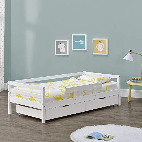 Kinderbed Reykholt met bedbodem en 2 lades 90x200 cm wit