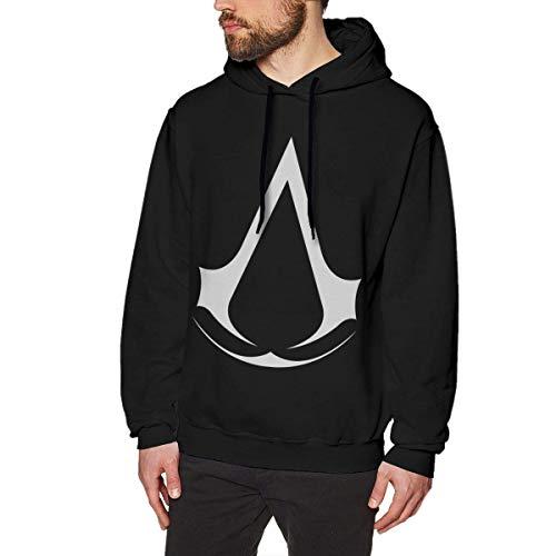 SHUNFAN Herren Kapuzenpullover, Hooded Sweat, Assassin Creed Video Game Series Mens Long Sleeve Sweatshirts Man's Hoodies Black