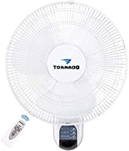 Tornado 16 Inch Digital Wall Mount Fan - Remote Control Included - 3 Speed Settings - 3 Oscillating Settings - 65 Inches Power Cord - UL Safety Listed