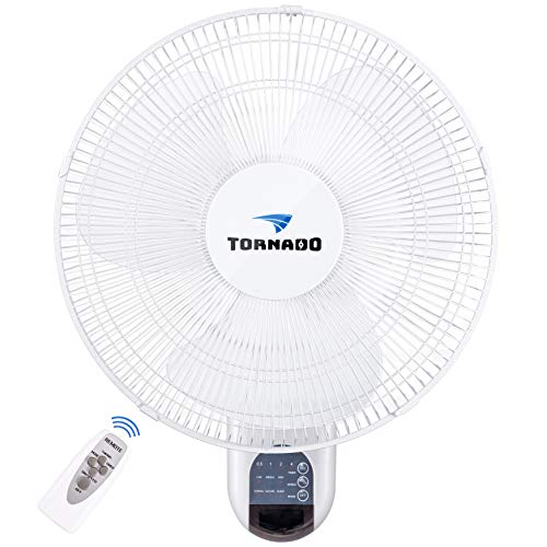 Tornado 16 Inch Digital Wall Mount Fan - Remote Control Included - 3 Speed Settings - 3...