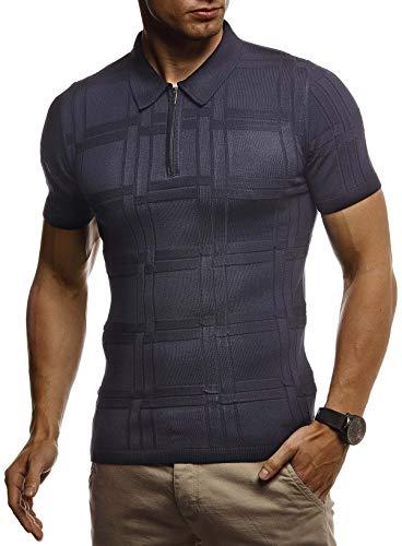 Leif Nelson Herren Sommer T-Shirt Poloshirt Slim Fit aus Feinstrick Cooles Basic Männer Polo-Shirt Crew Neck Jungen Kurzarmshirt Polo Shirt Sweater Kurzarm LN7325 D. Blau Medium