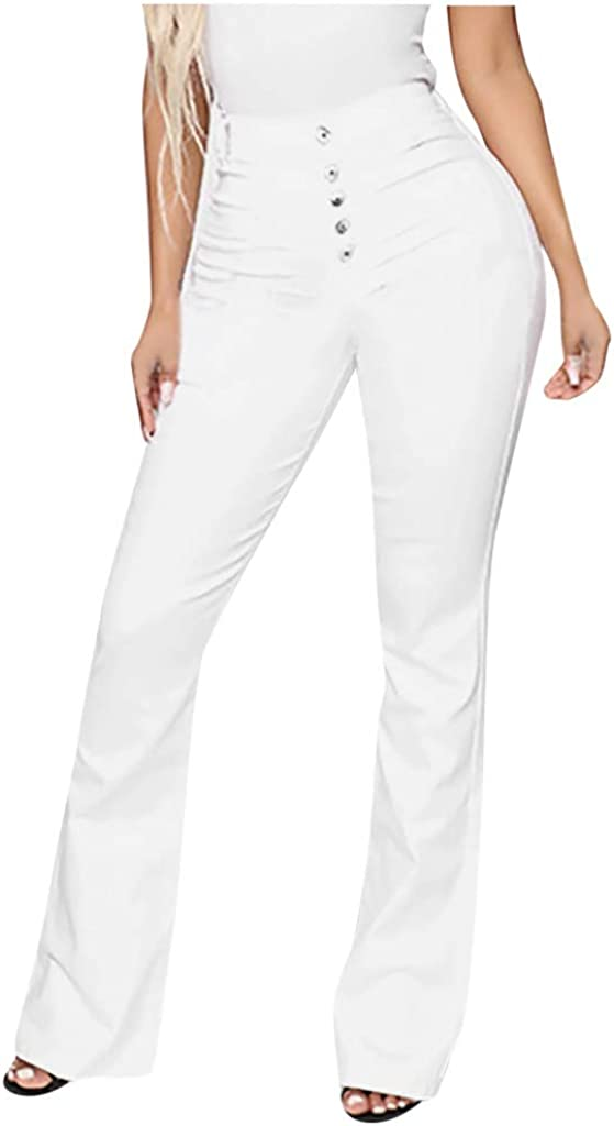 FUNEY Destoryed Flare Jeans Mid Waist Bell Bottom Raw Hem Denim Pants Classic Stretchy Slim Length Jeans for Women