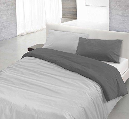 Italian Bed Linen Natural Color Parure Copripiumino con Sacco e Federa, 100% Cotone, Grigio Chiaro/Fumo, a una Piazza e Mezza, 200 x 200 cm, 2 Unità