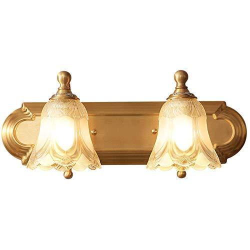HYYK Lámpara de Espejo LED para Pared de baño con Pantalla de Vidrio, luz Frontal de Espejo de baño Interior de Estilo Americano, 2 Cabezas para Espejo, tocador, Espejo