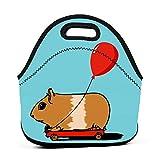 Lindo conejillo de indias montado en un carrito bolsa de almuerzo portátil con globo, bolsa de almuerzo linda reutilizable,...