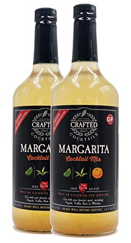 Crafted Cocktails Margarita Mix 100% Agave for Great Taste and Only 60 All Natural Calories Per Serving, 1 L Per Bottle, Pack of 2