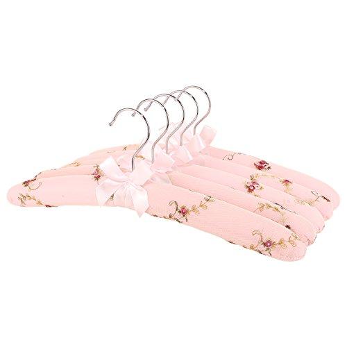 Neoviva Kleiderbügel mit Spitze für Frauen, 5Stück, rosa, XDSWS046/047