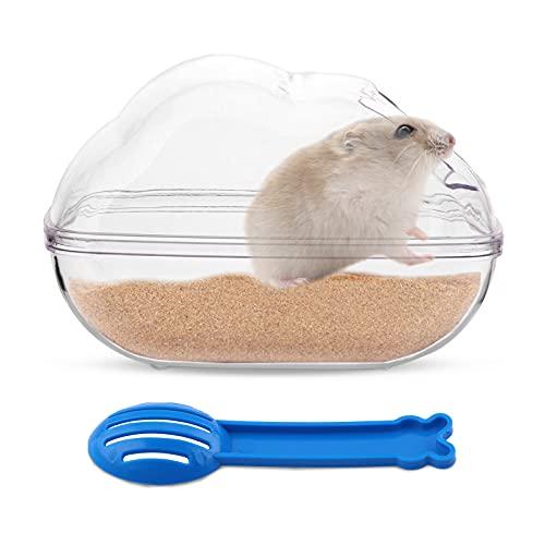 Baño de Arena de Hámster Forma de Ratón de Plástico Contenedor de Baño de Arena Bañera para Mascotas Pequeñas Sauna Baño Aseo Caja con Pala para Hamster Guinea Pig Hurón Gerbil Chinchilla Small