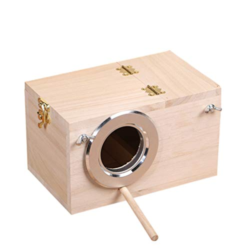 TEHAUX Caja de Nido de Periquito Casa de Pájaro Nido de Madera Caja de Cría para Periquito Agapornis Finch Parrotlet