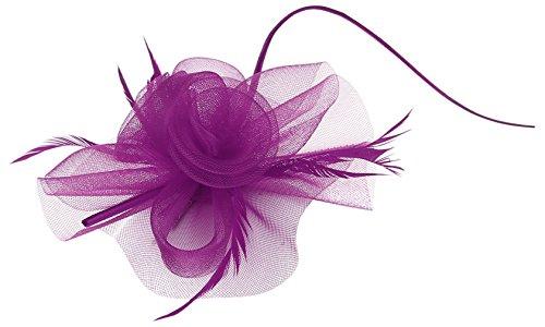 La Vogue Barrette Pince à Cheveux Fleur Voile Clip Femme Fille Serre-Tête Violet
