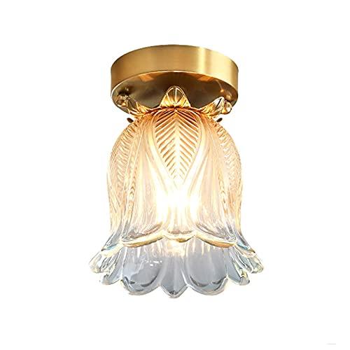 Moderno Rame Luci di Soffitto Europeo Minimalista Balcone Lampada Da Soffitto 16 cm Vetro Fiore Forma Paralume Corridoio Lampade A Sospensione per Portico Cucina Corridoio Soggiorno