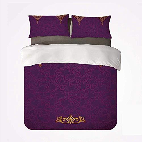 Púrpura varios patrones orientales del palacio real oriental con boda tradicional de arte de estilo bohemio,Juego de ropa de cama con funda nórdica de microfibra y 2 funda de almohada - 200 x 200 cm