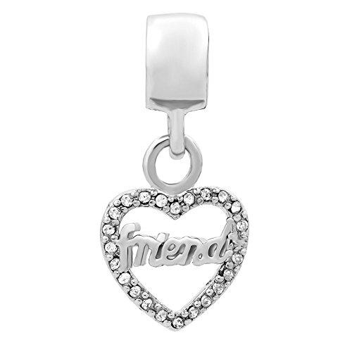 Korliya Friend Heart Charm Dangle Bead for Bracelet