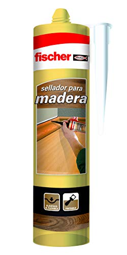 fischer – sellador de juntas Especial Madera Pino (tubo de 300 ml) adhesivo para madera, barnizable y pintable, elástico y flexible, sin siliconas ni disolventes, idóneo para carpintería