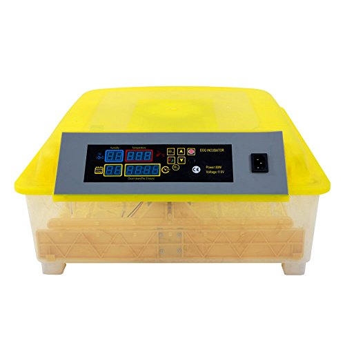 Practical Fully Automatic Poultry Incubator, with Fully Automatic, Egg Illuminator and Water Injector, Transparent (Yellow 56-Eggs)