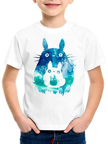 style3 Totoro Acuarela Camiseta para Niños T-Shirt mi Vecino Anime, Talla:140