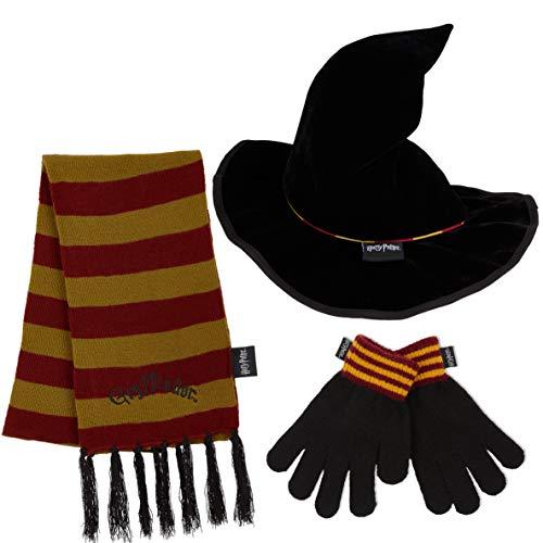 HARRY POTTER Set de Bufanda Gorro y Guantes para Niñas, Bufanda Diseño Gryffindor y Sombrero Wizard, Merchandising Oficial Regalos Para Niños y Niñas