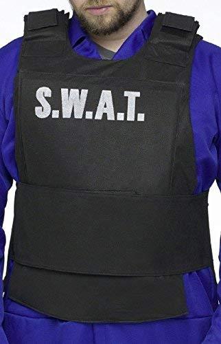 Fancy Me Adulte Noir Pou Hommes Swat Police Gilet Costume Déguisement Costume