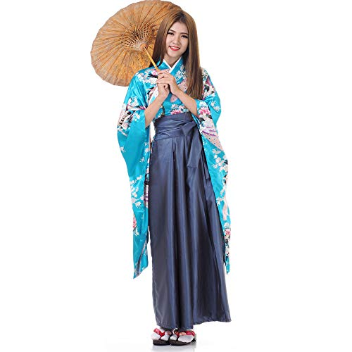 Princess of Asia Japan Damen Geisha Samurai Kimono Outfit Kostüm S M 36 38 40 (Türkis & Blaugrau)