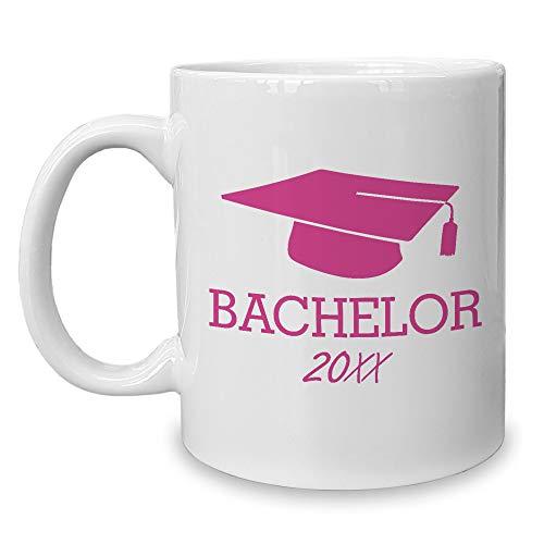 Shirtdepartment - Kaffeebecher - Bachelor mit Wunschjahr zum Beispiel 2019 (Weiss-Fuchsia)