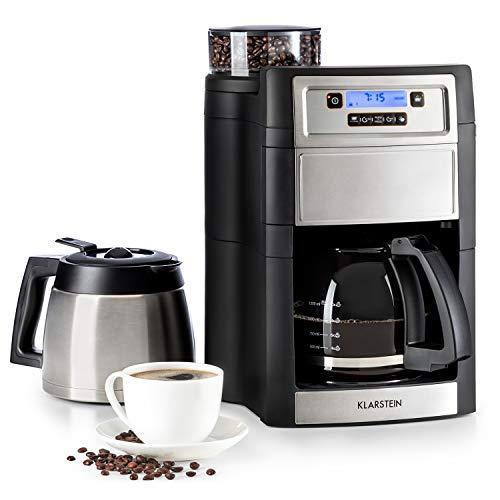 Klarstein Aromatica II Duo - Máquina de café con molinillo cónico, 5 niveles, Jarra de cristal 1,25 L, Temporizador 24h, Filtro de carbón activo, Potencia 1000 W, Antigoteo, Display LED, Plateado