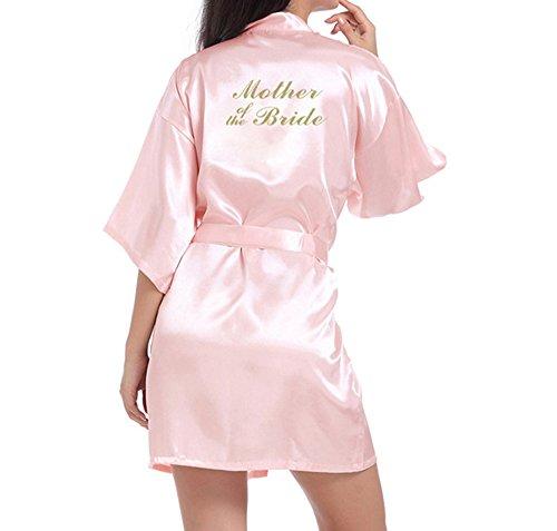 WPFING - Bata corta de raso para novias y damas de honor, bata para despedida de soltera personalizable con lema en purpurina Rosa Madre de la Novia Rosa XL