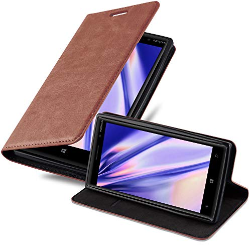 Cadorabo Hülle für Nokia Lumia 830 - Hülle in Cappuccino BRAUN – Handyhülle mit Magnetverschluss, Standfunktion & Kartenfach - Case Cover Schutzhülle Etui Tasche Book Klapp Style