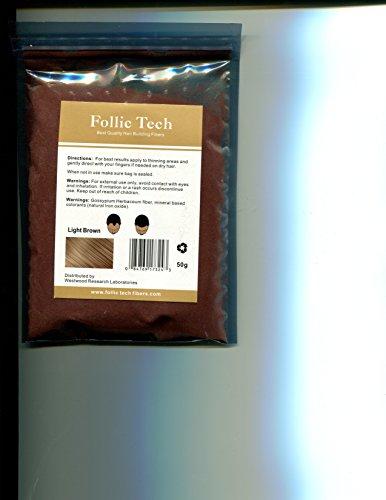Number One Rated 100% Vegan Hair Building Fibers Hair Loss Treatment All Natural 52 Gram Refill Bag Follic Tech All Organic (Light Brown)