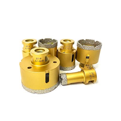 ABLE Vacuum brazed Diamond Dry Drilling bits Core bits with 5/8-11 for Porcelain Tile Granite Marble Stone Masonry Brick Medium Set(20/35/40/43/50/68mm)