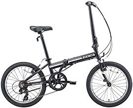 EuroMini ZiZZO 2019 Campo 28lb Lightweight Aluminum Frame Shimano 7-Speed Folding Bike 20-Inch (Matte Black)