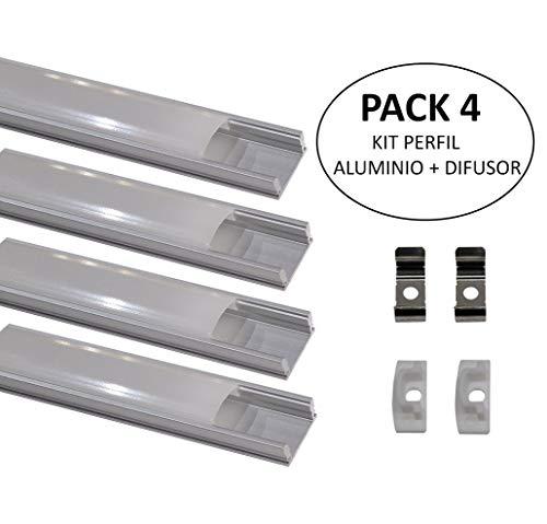 (LA) 4x Perfil de Aluminio para Tira LED con Cubierta Blanca Lechosa. Los tapones de los extremos y los clips de montaje de metal están incluidos en el Pack. (PACK X4)