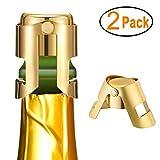 Kimimara Flaschenverschluss für Sekt- Champagner- und Prosecco-Flaschen aus Edelstahl, 2er-Pack Sektverschluss, Wiederverwendbar Sektflaschenverschluss(Gold)