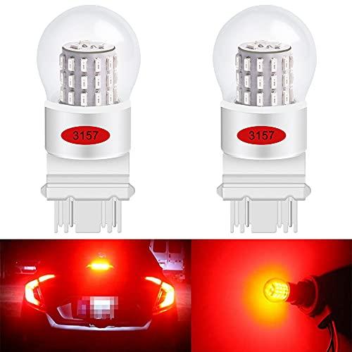 AMAZENAR 2-Pack 3156 3157 3056 3057 Très Faible Luminosité Rouge LED Faible Puissance 12V-DC, AK-3014 39 SMD Ampoules de Rechange de Voiture pour Les Feux de Freinage Ampoule de Queue