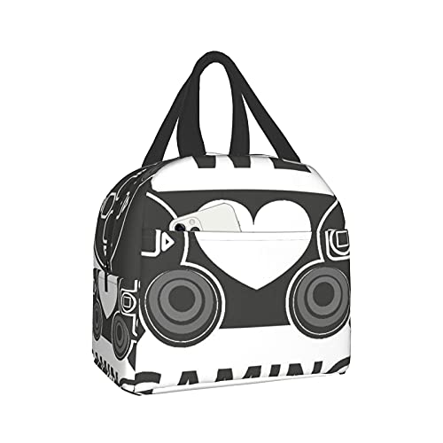 Bolsa de almuerzo, Insulated Lunch Bag, We Love Gaming Quote Greyscale Controller Design With Heart In The Middle灰, Lunch Box Container Freezable Tote Bags for Work, Picnic, College, Camping, School