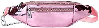 TOOGOO Women's Smooth PU Leather Bag New Mobile Phone Bag Lady Pockets Ladies Chest Bag Ladies Belt Bag Black