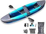 WEUN Juego de Kayak en tándem, Kayak Inflable 2 Persona con remos de Aluminio paletas Pesca bevercraft 1-2 o 3 Persona Barco Canoa balsa Kayaks para Adultos y niños Juventud Kayak