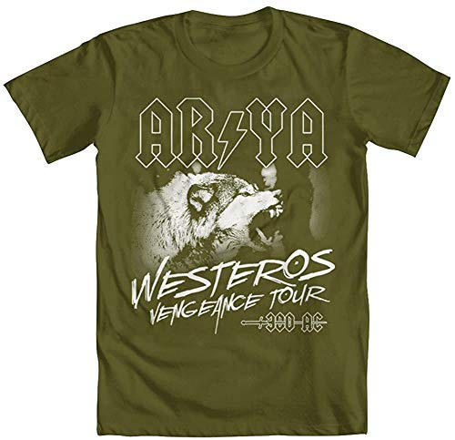 Arya Westeros Vengeance Tour Men's T-Shirt,Military Green,Small