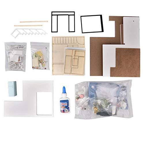 Santing DIY Miniatur Haus Kit Miniatur Puppenhaus, DIY Kit, für Büro Dekor für Home Ornament