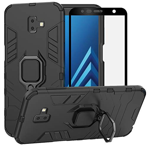 BestAlice for Samsung Galaxy J6 Plus/J6 Prime 2018/J6+ Case, Hybrid Heavy Duty Protection Shockproof Defender Kickstand Armor Case Cover Tempered Glass Screen Protector?Black