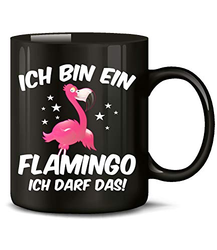 Golebros Ich Bin EIN Flamingo ich darf das 6138 Fun Tasse Becher Kaffeetasse Kaffeebecher Schwarz