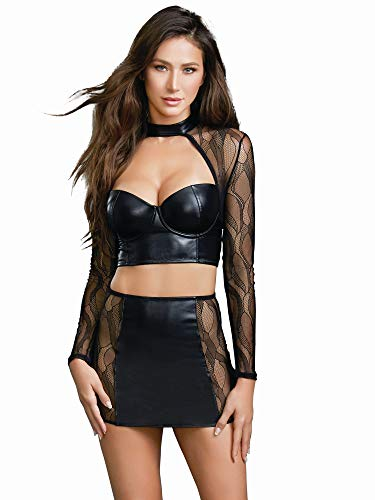 Dreamgirl Women's Faux Leather and Lace Crop Top with High Waist Skirt Set, Black, Small