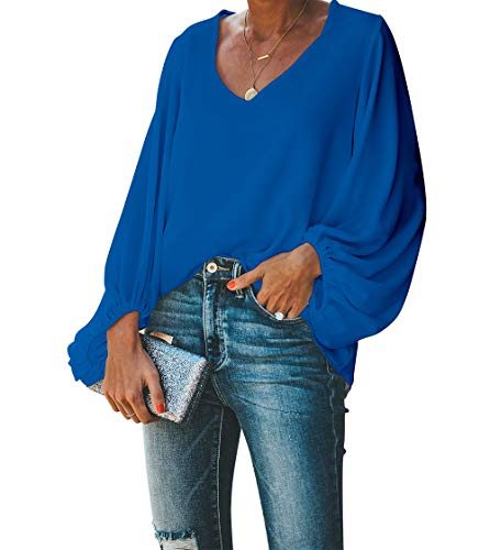 BELONGSCI Women's Casual Sweet & Cute Loose Shirt Balloon Sleeve V-Neck Blouse Top (Blue, XL)